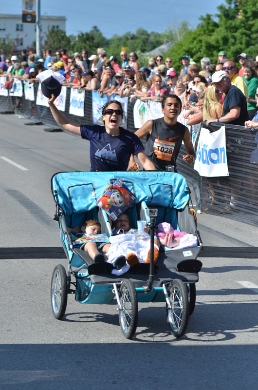 Theresa Marie Pitts world record finish - triple stroller runner #strollerstrong