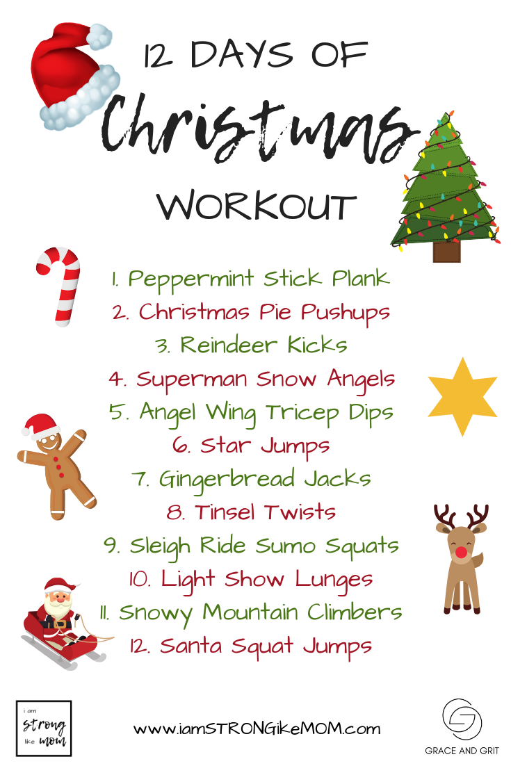 12 Days of Christmas Workout for moms and kids - I am STRONG like MOM and Shop Grace and Grit